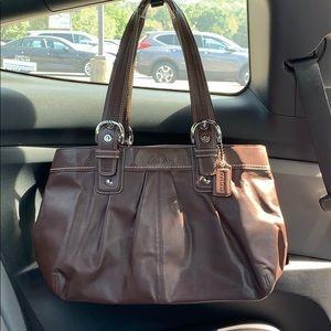 COACH Soho Pleated Large Business Mahogany Leather